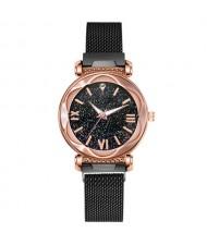 Roman Numeral Starry Design Index High Fashion Women Wrist Watch - Black