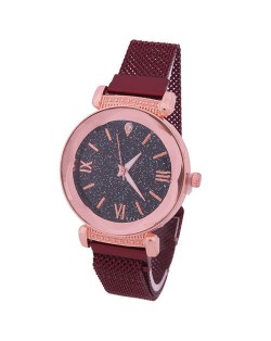 Roman Numeral Starry Design Index High Fashion Women Wrist Watch - Red