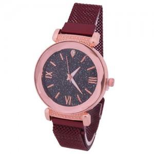 Roman Numeral Starry Design Index High Fashion Women Wrist Watch - Red