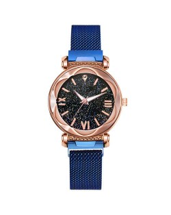 Roman Numeral Starry Design Index High Fashion Women Wrist Watch - Blue