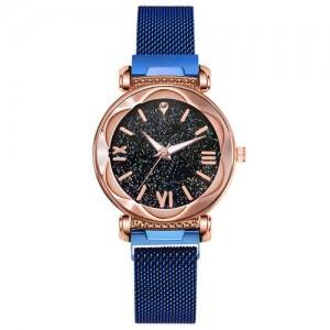Roman Numeral Starry Design Index High Fashion Women Wrist Watch - Blue