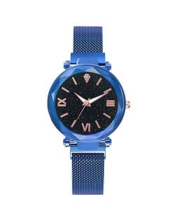 Starry Design Index Casual Fashion Magnetic Buckle Women Wrist Watch - Blue