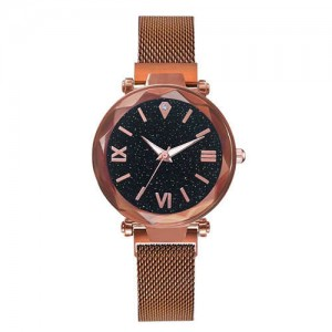 Starry Design Index Casual Fashion Magnetic Buckle Women Wrist Watch - Rose Gold