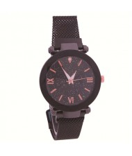 Starry Design Index Casual Fashion Magnetic Buckle Women Wrist Watch - Black