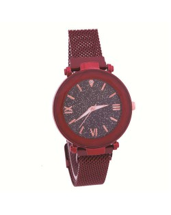 Starry Design Index Casual Fashion Magnetic Buckle Women Wrist Watch - Red