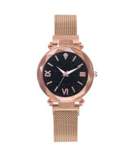 Starry Design Index Casual Fashion Magnetic Buckle Women Wrist Watch - Golden