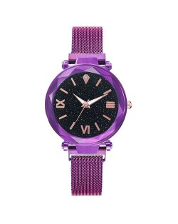 Starry Design Index Casual Fashion Magnetic Buckle Women Wrist Watch - Violet
