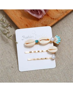 Korean High Fashion Seashell Design Women Hair Clip and Barrette Combo Set - Blue