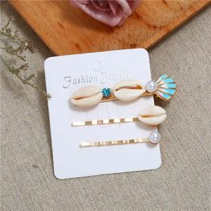Korean High Fashion Seashell Design Women Hair Clip and Barrette Combo Set - Blue