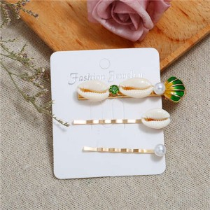 Korean High Fashion Seashell Design Women Hair Clip and Barrette Combo Set - Green
