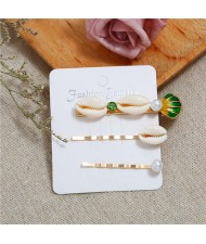 Korean High Fashion Seashell Design Women Hair Clip and Barrette Combo Set - Green