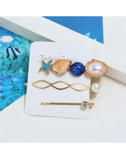 Seashell and Starfish Decorated Korean Fashion Women Hair Clip and Barrette Combo Set - Blue