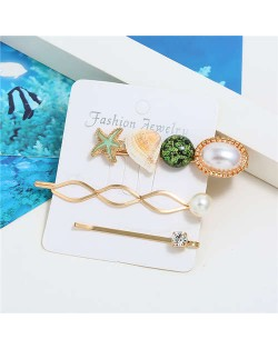 Seashell and Starfish Decorated Korean Fashion Women Hair Clip and Barrette Combo Set - Green