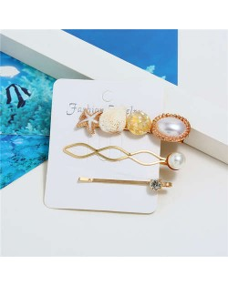 Seashell and Starfish Decorated Korean Fashion Women Hair Clip and Barrette Combo Set - Yellow