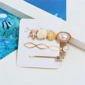 Seashell and Starfish Decorated Korean Fashion Women Hair Clip and Barrette Combo Set - Yellow