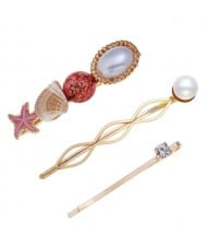 Seashell and Starfish Decorated Korean Fashion Women Hair Clip and Barrette Combo Set - Red