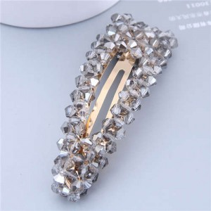 Shining Crystal Bar Shape Korean Fashion Women Hair Clip - Gray