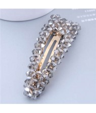 Shining Crystal Bar Shape Korean Fashion Women Hair Clip - Gray