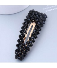 Shining Crystal Bar Shape Korean Fashion Women Hair Clip - Black
