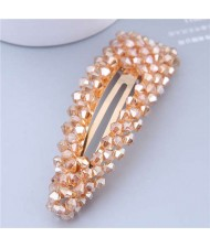 Shining Crystal Bar Shape Korean Fashion Women Hair Clip - Champagne