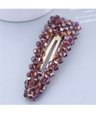 Shining Crystal Bar Shape Korean Fashion Women Hair Clip - Violet