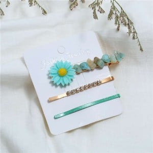 Sunflower Decorated High Fashion Women Hair Clip and Barrette Combo Set - Green