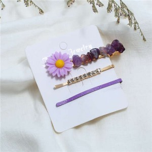 Sunflower Decorated High Fashion Women Hair Clip and Barrette Combo Set - Purple