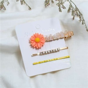 Sunflower Decorated High Fashion Women Hair Clip and Barrette Combo Set - Yellow