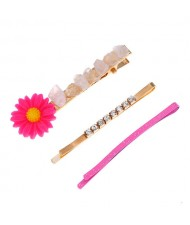 Sunflower Decorated High Fashion Women Hair Clip and Barrette Combo Set - Pink