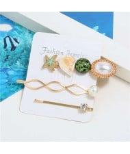 Korean High Fashion Ocean Elements Design Women Hair Clip and Barrette Combo Set - Green