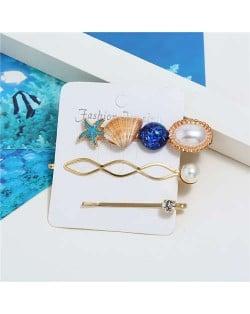 Korean High Fashion Ocean Elements Design Women Hair Clip and Barrette Combo Set - Blue