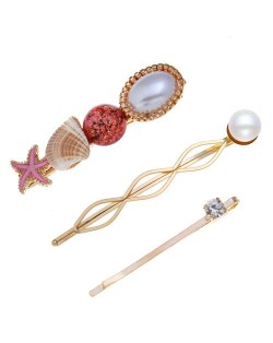Korean High Fashion Ocean Elements Design Women Hair Clip and Barrette Combo Set - Red