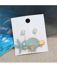 Seashell and Pearl Combo Women Elegant Hair Barrette - Blue