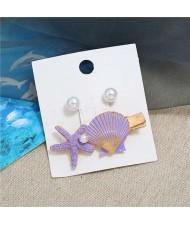 Seashell and Pearl Combo Women Elegant Hair Barrette - Violet
