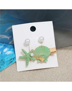 Seashell and Pearl Combo Women Elegant Hair Barrette - Green