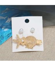 Seashell and Pearl Combo Women Elegant Hair Barrette - Golden