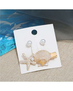 Seashell and Pearl Combo Women Elegant Hair Barrette - White