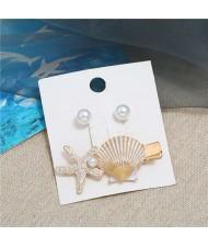 Seashell and Pearl Combo Women Elegant Hair Barrette - White