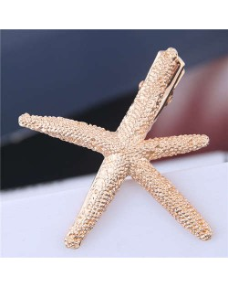 Alloy Starfish Design Women Hair Barrette - Golden