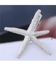 Alloy Starfish Design Women Hair Barrette - Silver