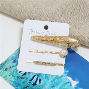 Artificial Amber Design Women Hair Clip and Barrette Combo Set - Golden