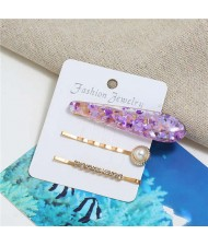 Artificial Amber Design Women Hair Clip and Barrette Combo Set - Purple