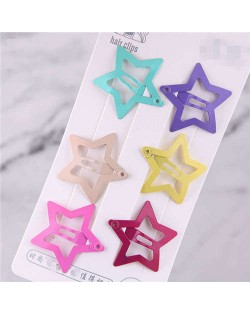 Candy Color Star Design Korean Fashion Women Hair Clips Combo