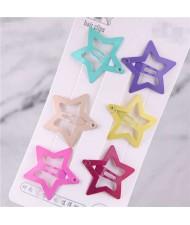 Candy Color Star Design Korean Fashion Women Hair Clips Combo