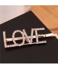 Shining Rhinestone Alphabet Combo Design Women Hair Clip - Love
