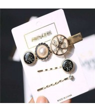 Rose Design High Fashion Women Alloy Hair Clip and Barrette Combo Set