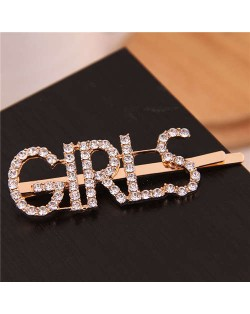 Shining Rhinestone Alphabet Combo Design Women Hair Clip - Girls