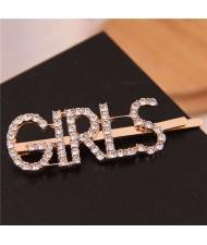 Shining Rhinestone Alphabet Combo Design Women Hair Clip - Girls