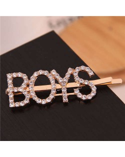 Shining Rhinestone Alphabet Combo Design Women Hair Clip - Boys