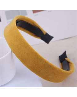 Korean Fashion Solid Color Velvet Texture Women Hair Hoop - Yellow